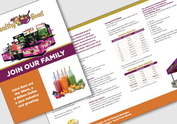 Proposed brochure for a start up company that franchises healthfood juice bars.