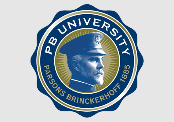 Logo for PB University, Parsons Brinckerhoff's continuing education program. General William Barclay Parsons founded the firm in 1885.